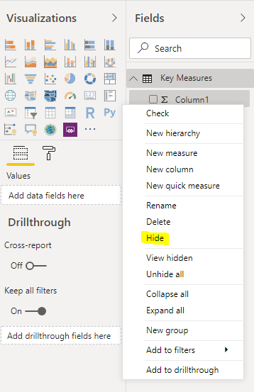 Power BI Hide Column